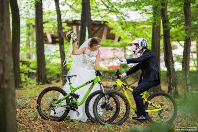 Svadobné fotenie - na bicykloch